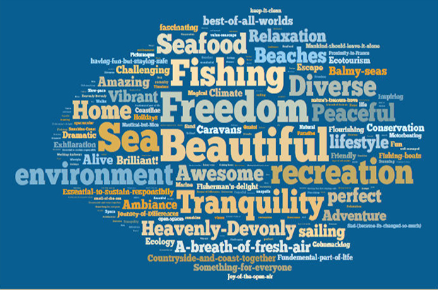 Wordle produced about the South Marine Plan areas