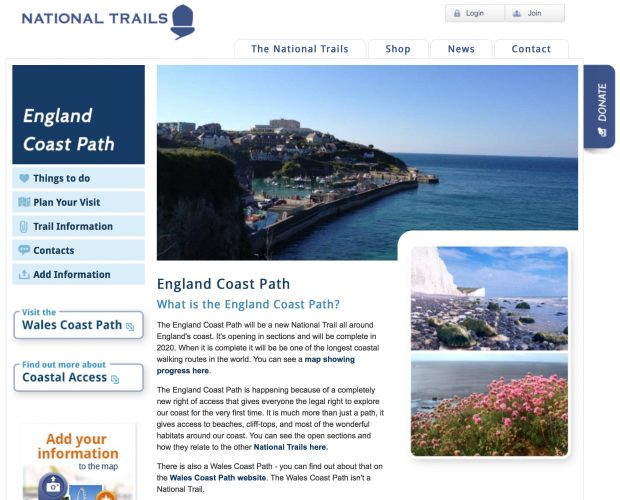 England coastal path website