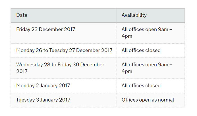 MMO opening time Christmas 2016