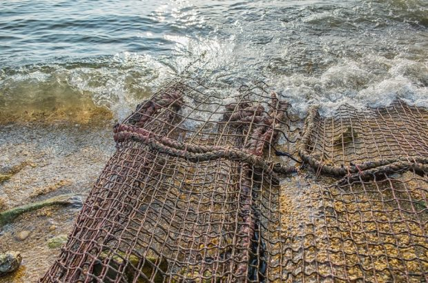 A Part Of Safety Net On Sand Beach