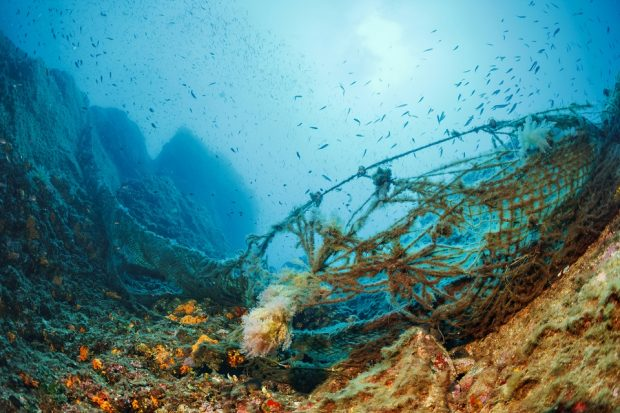 Fishing nets underwater