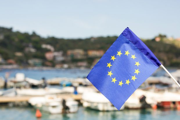 EU flag harbour
