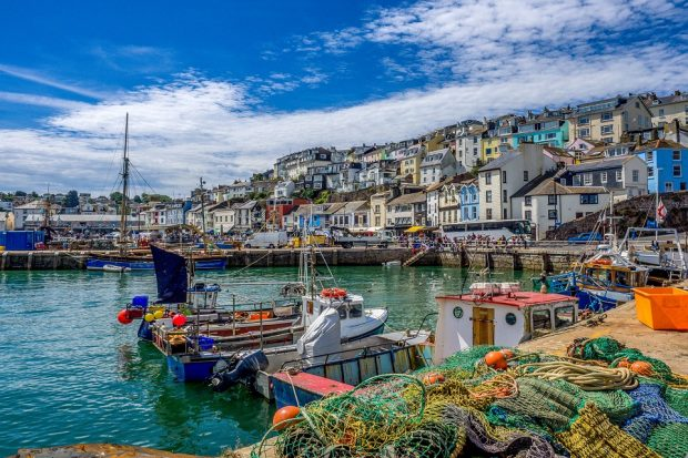 The coastal village of Brixham, Devon.