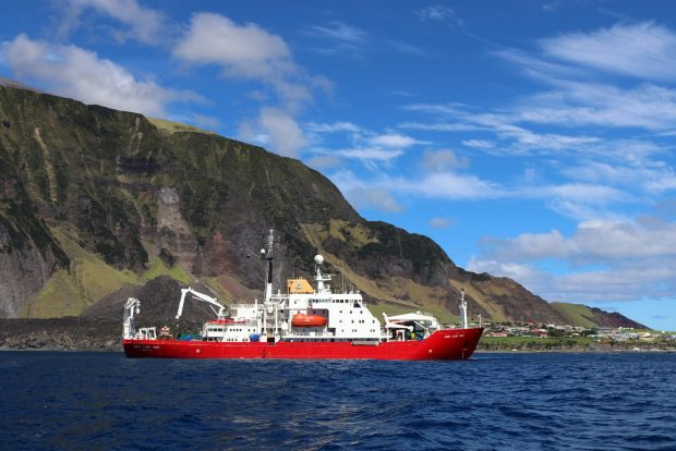 The RRS James Clark Ross in front of Tristan Island. Image credit: Rich Turner, BAS.