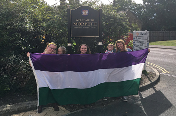 suffrage flag in Morpeth