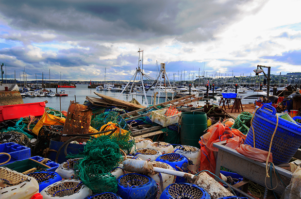 Fishing boats, nets and pots in Torquay, Devon.