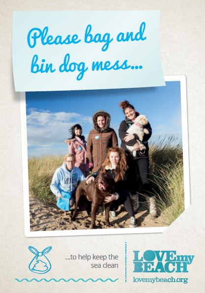 "Binit4beaches campaign leaflet. ""Please bag and bin dog mess to help keep the sea clean""."