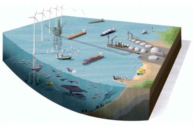 Graphic showing users of the sea including ships, wind farms, oil rigs and wildlife.