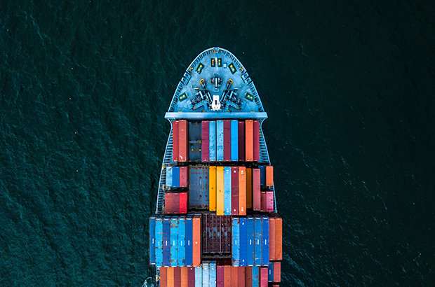 Birdseye view of a shipping container at sea.