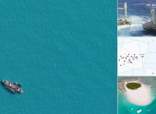 Birdseye view of ship in turquoise waters. To the right are three images. One of a boat at sea, one of a satellite image showing vessels at sea and a birds eye view of a tropical island with white sand and green palm trees.