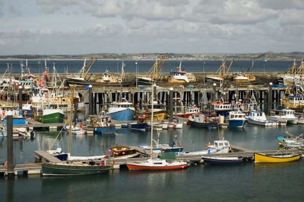 Trawlers and fishing boats moored at Newlyn Harbour, Cornwall, England.