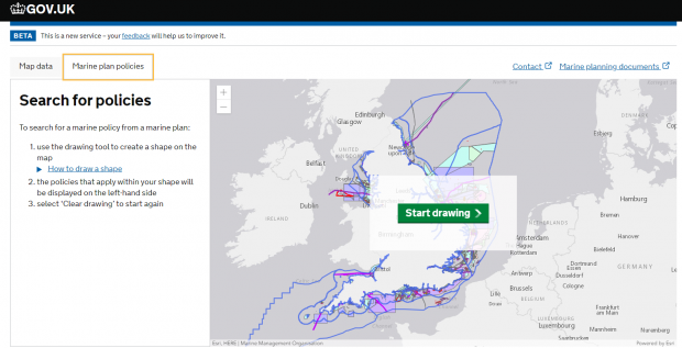 Screen grab pf Explore Marine Plans