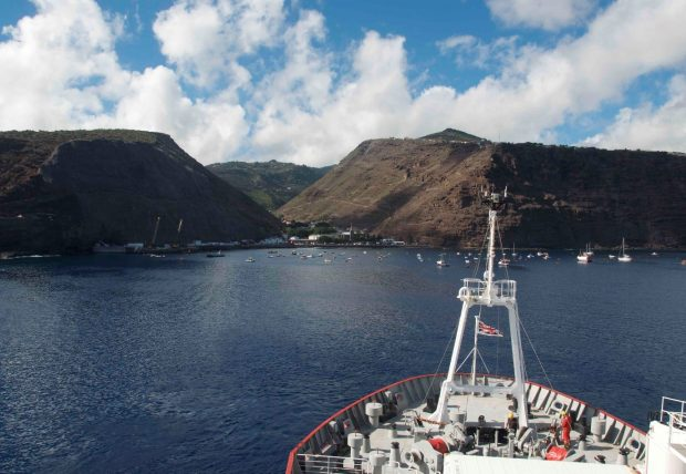 The James Clark Ross in St Helena during the 2018 BAS/Blue Belt Programme research cruise